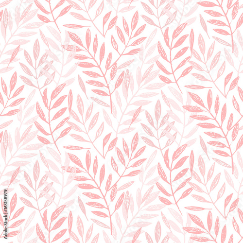 Tropical palm leaves, seamless foliage pattern. Vector illustration. Tropical jungle palm tree background. Blush pink background. - 163158979