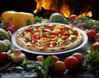Seafood pizza with white wine - 163159945