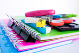 Selective focus, close up of office supplies on white background - 163163777
