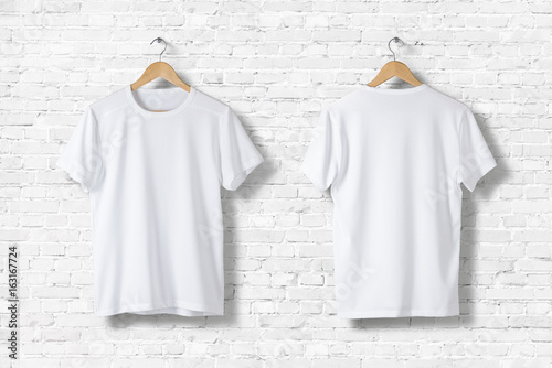 Leinwandbild Motiv Blank White T-Shirts  Mock-up hanging on white wall, front and rear side view . Ready to replace your design