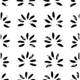 Abstract seamless hand drawn pattern. Modern grunge texture with botanical motif. Monochrome brush painted background. - 163169398