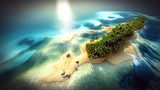 Small tropical island in Maldives atoll from aerial view 3d rendering - 163173127