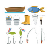 colorful set collection elements to fishing vector illustration