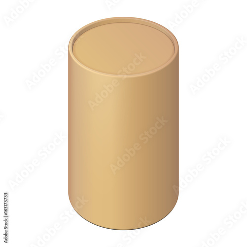 Brown Cardboard Paper Tube Cilinder Box Container Packaging. Food, Gift Products. Illustration Isolated On White Background. Mock Up Template Ready For Your Design. Product Packing Vector EPS10