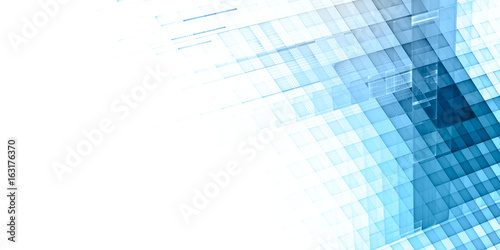 Abstract background. Fractal graphics series. Three-dimensional composition of textured grids. Wide format high resolution image. Blue and white colors.