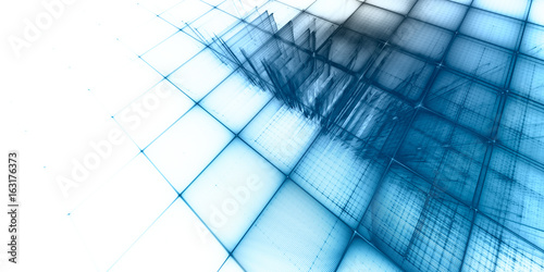 Abstract background element. Fractal graphics series. Three-dimensional composition of repeating grids. Information technology concept. Blue and white colors.