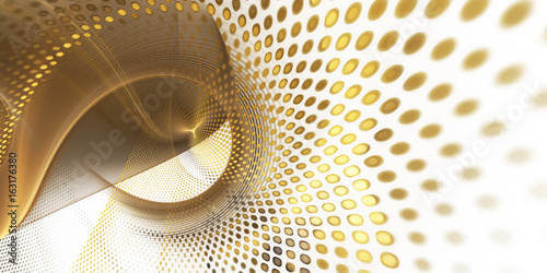 Abstract background element. Fractal graphics series. Three-dimensional composition of glowing lines and mosaic halftone effects. Wide format high resolution image. Golden colors.