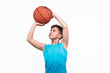 Young boy playing basketball isolated on white