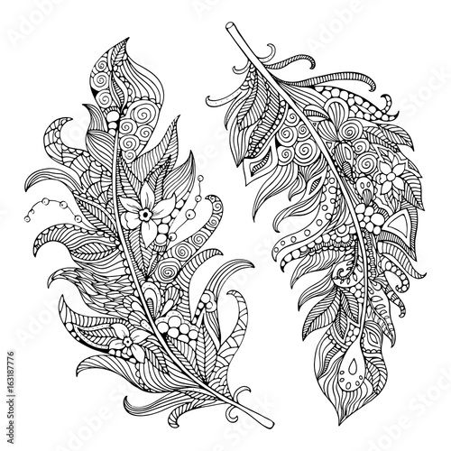 Feather coloring page. Hand-drawing feather