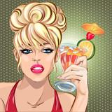 Pin up sexy blondynka kobieta pije koktajl, portret dziewczyny pop art