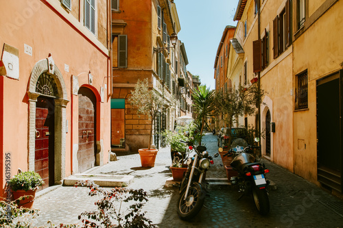 Staande foto Rome Narrow street in Rome, Italy at summer