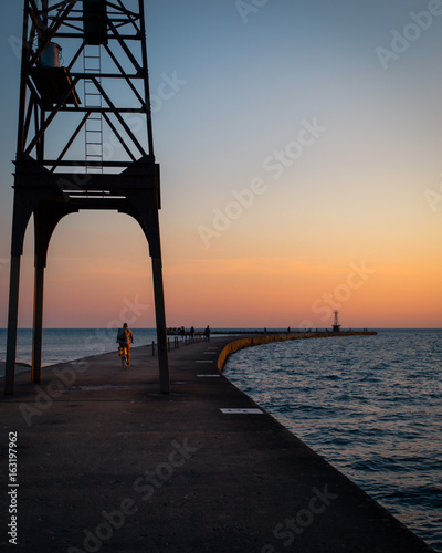 Early Morning Bike Ride on Lake Michigan