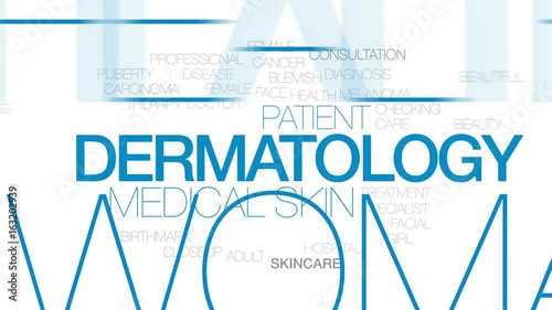 Dermatology animated word cloud, text design animation. Kinetic typography.