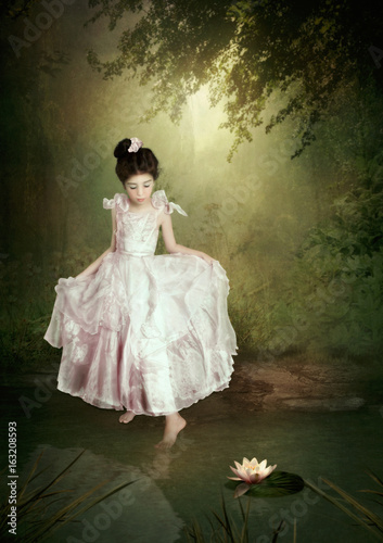 Little princess and water lily