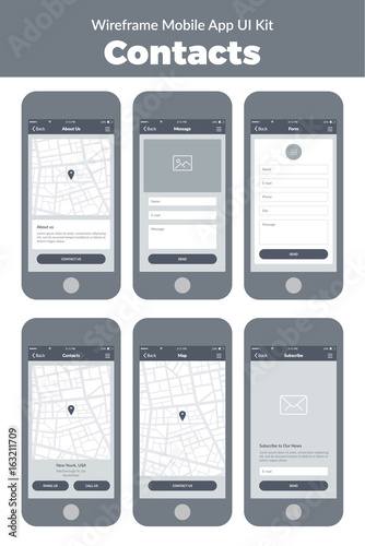 Wireframe UI kit for mobile phone  Mobile App Contacts  Form, about