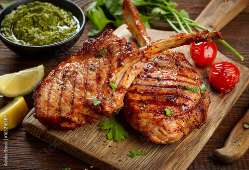 freshly grilled steaks - 163216589