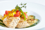 roasted fish with vegetables - 163216954