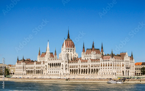 Hungarian Parliament building in Budapest with blue sky background