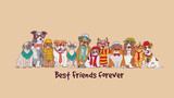 Group fashion best friends pets fun animals card. - 163228199