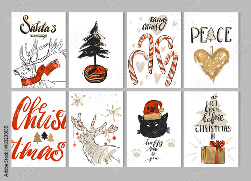 Aluminium Hipster Hert Hand drawn vector Merry Christmas greeting card set with cute deers,cat,gift boxes,Christmas tree in pot,gingerbread heart,candy canes,snowflakes and modern calligraphy phases isolated on white