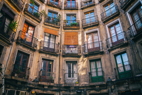 Symmetry of old apartments house in Barcelona