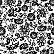 black and white floral pattern - 163239936
