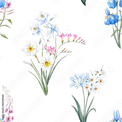 Watercolor floral summer vector pattern - 163244560