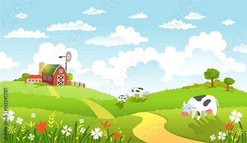 Fotobehang Lime groen Vector illustration of beautiful landscape with farm.