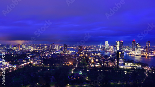 Rotterdam at twilight as seen from the Euromast tower, The Netherlands