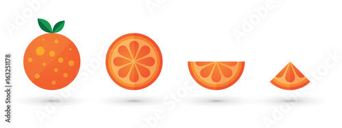 orange fruit slice abstract icon set - 163251178