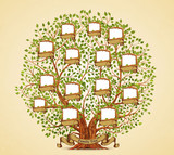 Family Tree template vintage vector illustration - 163256335