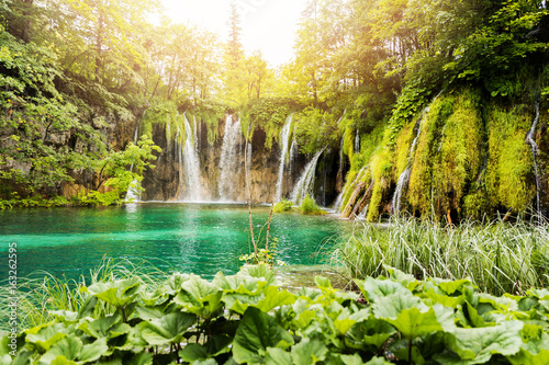 Waterfalls in Plitvice Lakes National Park, Croatia - 163262595
