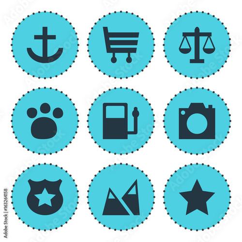 Fotobehang Turkoois Vector Illustration Of 9 Check-In Icons. Editable Pack Of Shopping Cart, Landscape, Scales Elements.