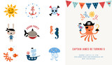 Pirate Birthday Invitation  Illustration Wall Sticker