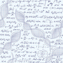 Biology and chemistry vector seamless pattern with handwritten dna, formulas, equations, hand drawn on grid copybook paper. Scientific endless texture