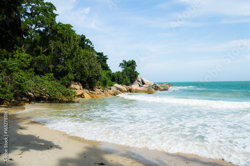 Beautiful Bay and Beach with Palms and Rocks on Koh Pha Ngan, Thailand