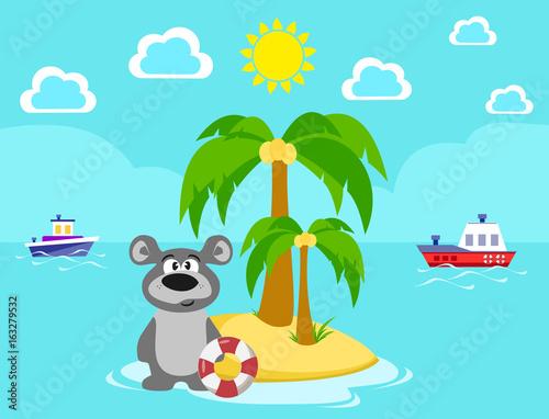 Мишка на острове. Купание. Лето. Море. Каникулы. Спасательный круг. Мультипликация.