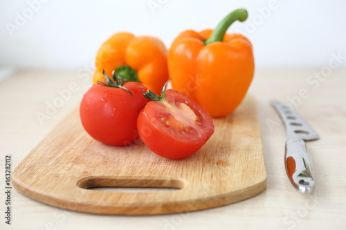 the orange peppers on the Board