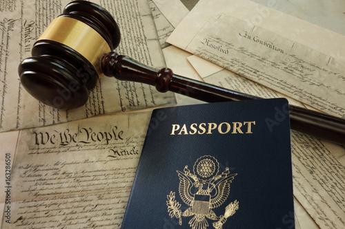 Gavel and passport