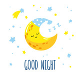 Cute sleeping crescent moon in the sky. Hand-written inscription good night. Vector illustration is suitable for greeting cards, posters and prints on t-shirts.