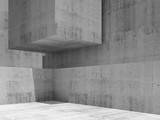 Abstract empty concrete interior, render