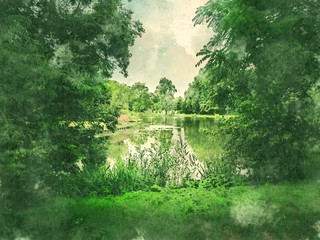 Green park and lake in Amsterdam. Watercolor. Oil painting style.