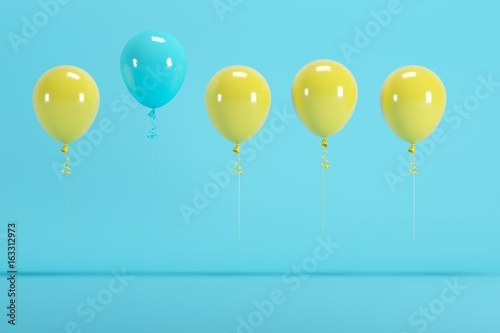 outstanding blue balloon among yellow balloon concept on blue background for copyspace. minimal concept. - 163312973