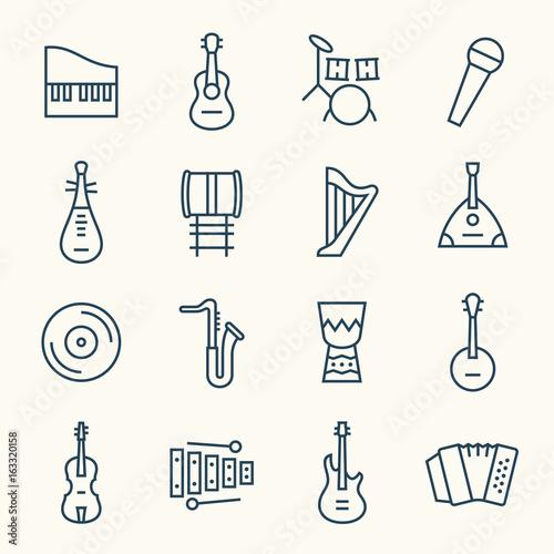 Fototapeta Musical instruments line icon set