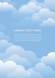 Blue sky with white clouds and space for text. Summer or autumn seasonal illustration.