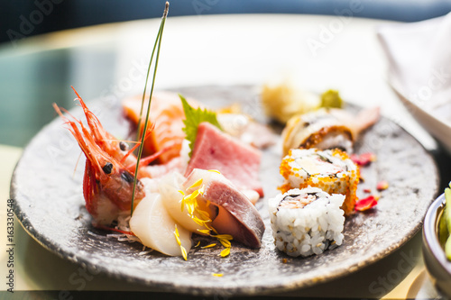 Sashimi and sushi plate