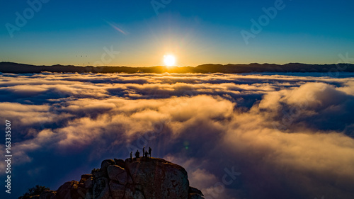 Sunrise above the fog