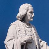 Statue of Cristobal Colon (Christopher Columbus) outside Iglesia El Rosario in El Salvador.