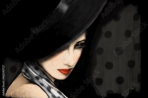 fashion illustration. woman in black hat