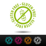 Gluten free badge, logo, icon. Flat vector illustration on white background. Can be used business company. - 163344945